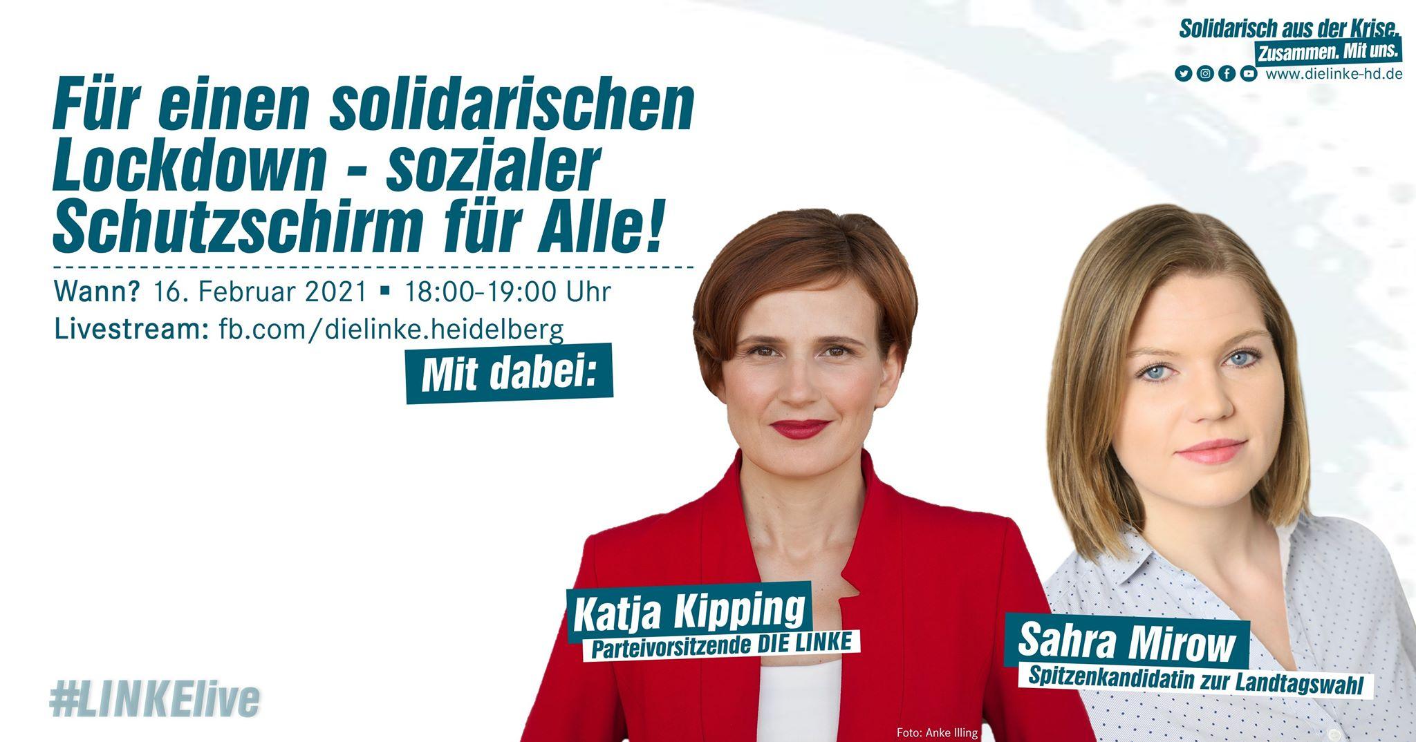 Veranstatlungfoto mit Katja Kipping und Sahra Mirow